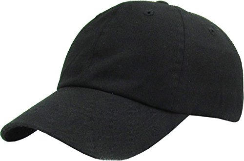 KB-LOW BLK Classic Cotton Dad Hat Adjustable Plain Cap. Polo Style Low Profile (Unstructured)