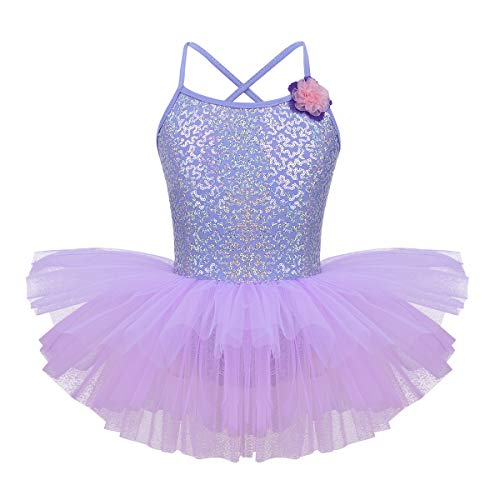 iEFiEL Kids Girls Shiny Sequins Ballet Tutu Dress Gymnastics Camisole Leotards Latin Jazz Modern Dance Dress
