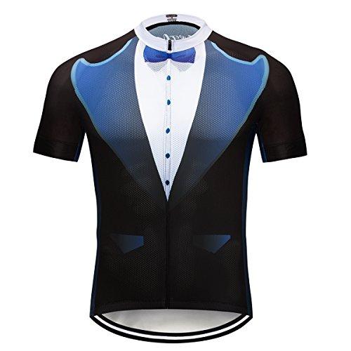 Men's Short Sleeve Cycling Jersey Breathable Bike Shirt Full Zipper Bike Jerseys with Pocket Lightweight Reflective Quick-Dry
