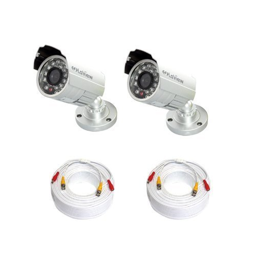 LaView 2 Pack 600TVL High Resolution Day and Night, Indoor/Outdoor Silver Analog Security Cameras - LV-KAC2C-CB