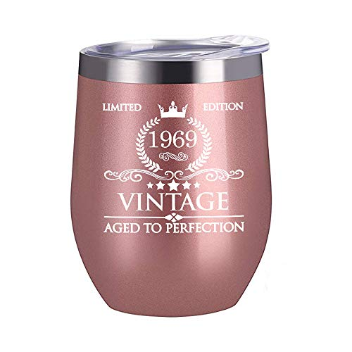 1969 50th Birthday Gifts for Women Men - 12 oz Stainless Steel Wine Glass Tumbler with Lid Party Decorations Supplies - Funny 50th Birthday Gift Ideas for Him Her Husband Wife Mom Dad ()