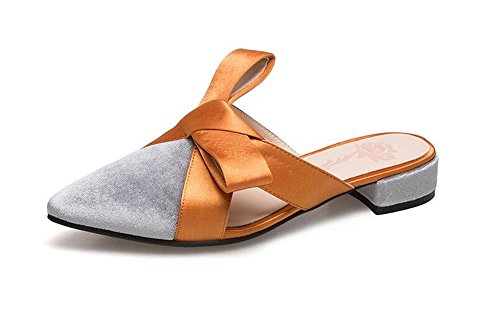pop excellent c Bow up Slippers Shoes Flat Elegant Fashion Shoes Toe Women's Grey Pointed vv0Arx