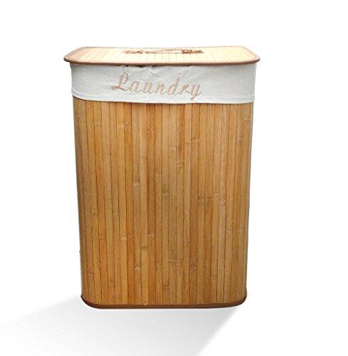 Good & Good Cesto para Ropa de Bambú con Funda de Tela, Modelo 97117