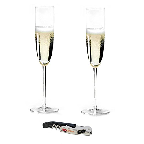 (Riedel Sommeliers Leaded Crystal 2 Piece Champagne Glass Set with Bonus BigKitchen Waiter's Corkscrew)