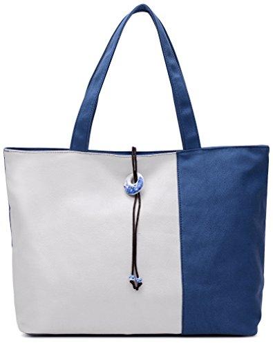 ArcEnCiel Women's Canvas Shoulder Hand Bag Tote Bag (Blue)