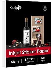 Koala Printable Glossy Sticker Label Paper 120 Sheets 8.5x11 Inches Full Sheet for Inkjet Printer