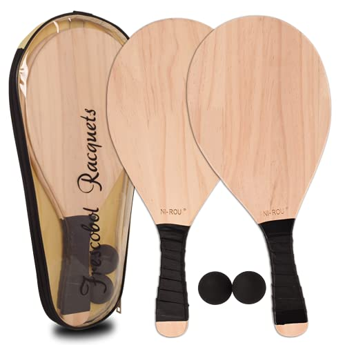 NI-ROU Wooden Pickleball Paddle Ball Toy with Carry Bag 2pcs