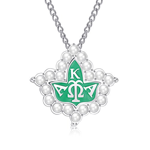 Pearl Crystal Alpha Kappa Alpha AKA Brooch Pin Silver Ivy Leaf Pendant Necklace Chain Women Valentines-Day Gifts