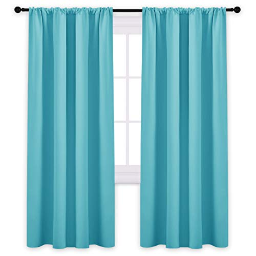 PONY DANCE Blackout Curtains 72'' - Light Blocking Curtain Panels Thermal Insulated Solid Rod Pocket Window Drapes for Living Room & Dining Room, W 42 in by L 72 in, Light Blue, 2 Pieces by PONY DANCE