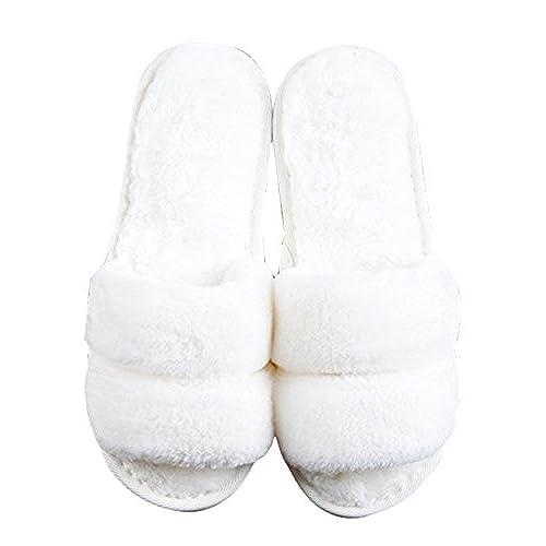 1bc3564fc Cattior Womens Fleece Open Toe Slippers Fluffy Slippers lovely ...