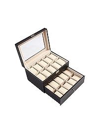 Ohuhu 20-Slot Leather Watch Box/ Jewelry Storage Organizer with Glass Top, Black