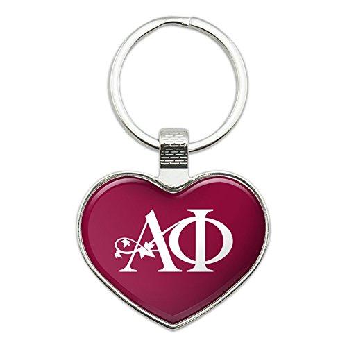 Alpha Phi International Women's Fraternity Sorority Logo Heart Love Metal Keychain Key Chain Ring