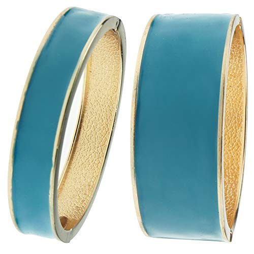 UJOY Fashion Statement Bracelet Gold Plated Cuff Hinged 2 Pcs Stackable Bangles Jewelry Gifts for Women 7769-7768 Blue