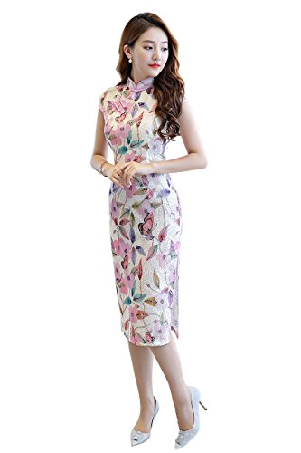 Shanghai Story Floral Cheongsam Faux Silk Qipao Chinese Oriental Dress S 11 (Dress Dresses Chinese Chinese)