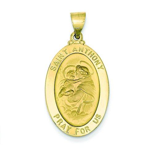 Satiné poli 14 carats et médaille Pendentif St Antoine JewelryWeb