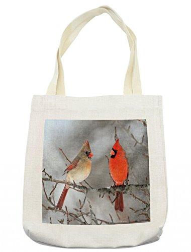 - Lunarable Bird Tote Bag, Pair of Northern Cardinal Birds on a Tree Ornithology Avian Wildlife Fauna, Cloth Linen Reusable Bag for Shopping Groceries Books Beach Travel & More, Cream