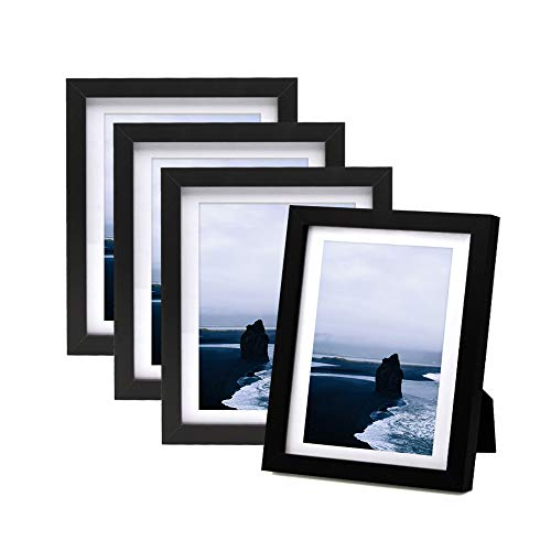 Afuly 5x7 Picture Frames Black Wood with White Mat to fit 4x6 Photo for Wall Gallery and Table Top - Set of 4 - Mounting Material Included - Made of -