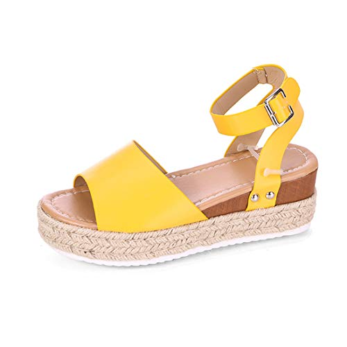Womens Casual Espadrilles Platform Peep Toe Studded Wedge Buckle Ankle Strap Open Toe Sandals (Yellow,7 M US)