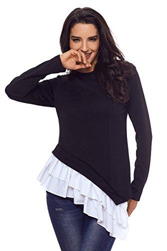 Tee Shirt Sweatshirt Sudadera Escalonado T Bajo Negro Posterior Camiseta Blusa Blouse De Volantes Ribete Top Blusón shirt Camisa Asimétrico Volante Playera qqUp7wBg