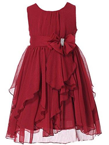 Bow Dream Flower Girl Dress Bridesmaid Ruffled Chiffon Burgundy 10]()