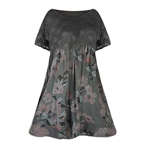 - Yunisu 2019 New Women's Plus Size Top Lace Summer Printing Sleeveless T-Shirt Casual Tops Blouse Grey