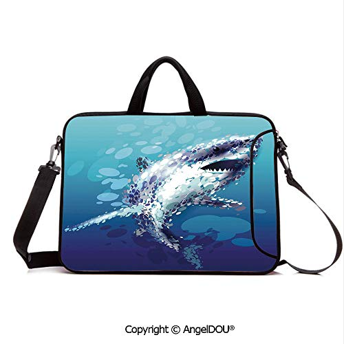 Droplet Figure - AngelDOU Neoprene Printed Fashion Laptop Bag Digital Made Psychedelic Shark Figure with Droplets Scary Atlantic Beast Notebook Tablet Sleeve Cases Compatible with Lenovo Asus Acer HP Blue Grey