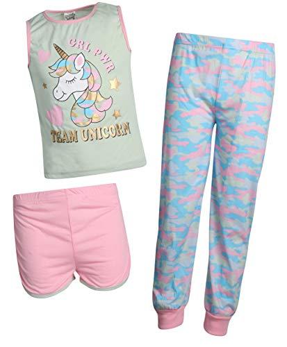 Sweet & Sassy Girls' 3-Piece Pajama Set with Cute Top, Matching Shorts, and Cuffed Pants, Green Unicorn, Size 10/12' ()