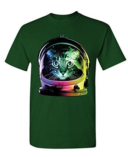 - NEON Space CAT - Kitty Astronaut Kitten - Mens Cotton T-Shirt, XL, (Cotton Kitty Collar)