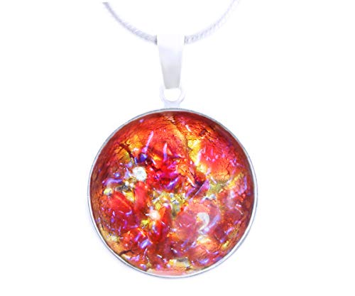 The Sun And The Moon Collection, Sunset, Fire Opal, Red Gold Blue, 925 Sterling Silver 18mm Round Pendant W Bail Necklace Bohemstyle