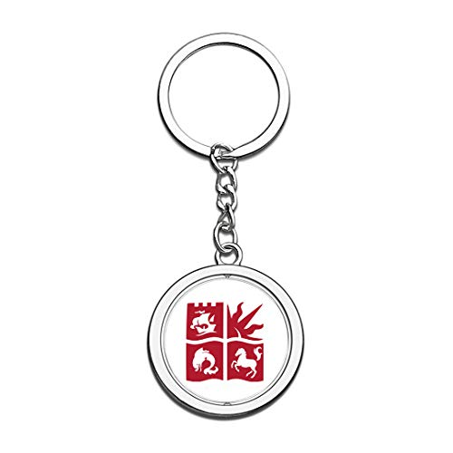 Bristol Crystal - University of Bristol Badge Keychain 3D Crystal Creative Spinning Round Stainless Steel Keychain Travel City Souvenir Key Chain Ring