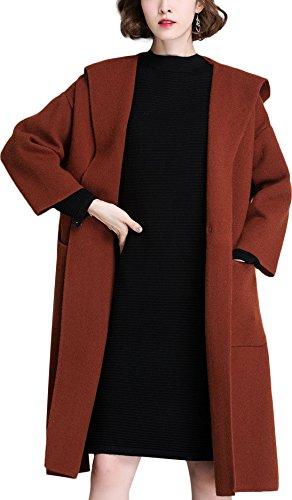 KUBITU Womens Boyfriend Casual Solid Pockets Hood 3/4 Sleeve Overcoat Long Pea Coat Large Caramel (Solid Sleeve Overcoat Women)