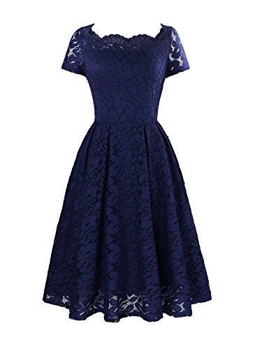 Yanmei Women's Floral Lace Tea Dress Knee Length Prom Dress with Scalloped Neckline Dress Dark Blue XX-Large 1085-3