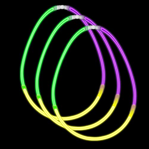 Fun Central P79, 100ct 22 Inch Green Yellow and Purple Glow in The Dark Necklaces, Glow Sticks Necklace Bulk, Glow Necklaces, Glow Sticks Bulk, Glow in Necklace