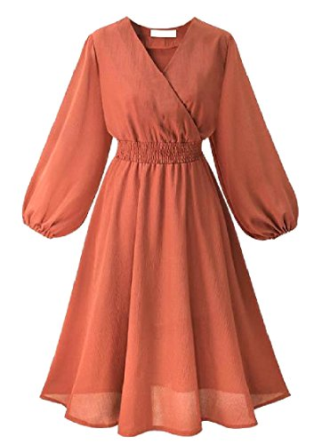 Orange Dress Color Sleeve Pure Elastic Long Women Work Coolred V Neck Waist Casual Elegant qwtOn76