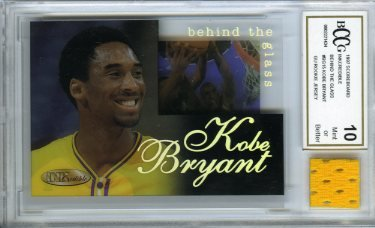 1996/97 Score Board #BG15 Kobe Bryant Rookie with a Piece of Authentic Kobe Bryant Game Used Rookie Jersey Graded BGS Beckett 10 Mint GGUM Card