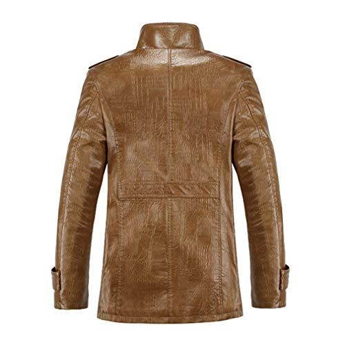 - Oudahood Winter PU Leather Casual Jackets Khaki L