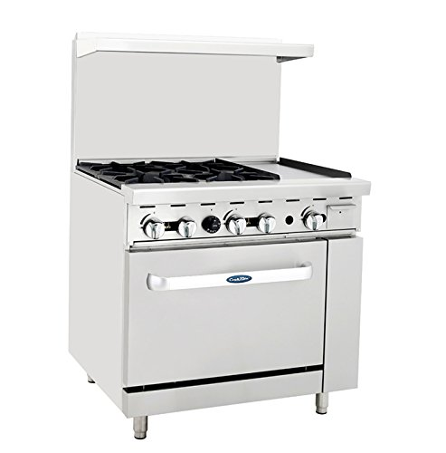 "Atosa ATO-4B12G 36"" Gas Range. (4) Open Burners and 12"" Griddle on the RIGHT with One 26"" 1/2 Wide Oven"