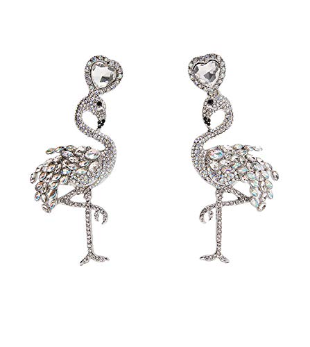 BEST LADY Cute Fruit Animals Drop Earrings - Statement Colorful Shining Crystal Dangle Earrings for Women Summer Holiday Jewelry (Flamingo)