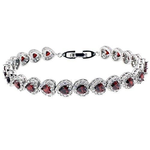 (HERMOSA Plated Silver Love Bracelets Garnet Amethyst Sapphire Ruby White Topaz Bracelet 7 inch (Garnet))