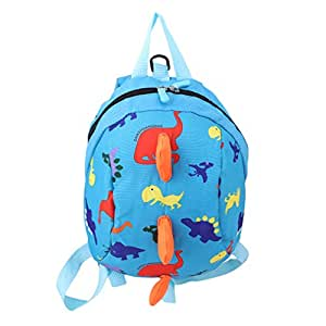 ODN Child Safety Harness Backpack Leash Toddler Anti-Lost Dinosaur Bag (Blue)
