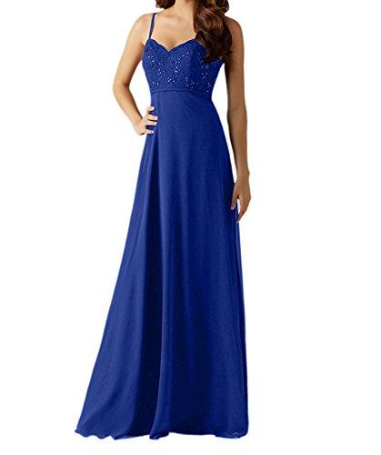 Damen Blau A Charmant Traeger Brautjungfernkleider Abendkleider Chiffon Linie Lang Rock Partykleider Royal Navy Blau dzww6