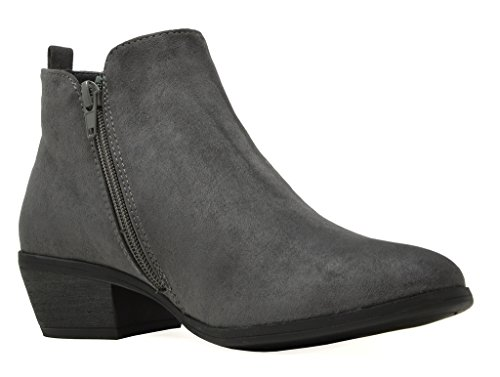 TOETOS Damen Cowboy Blockabsatz Seitlicher Reißverschluss Ankle Booties Graues Wildleder