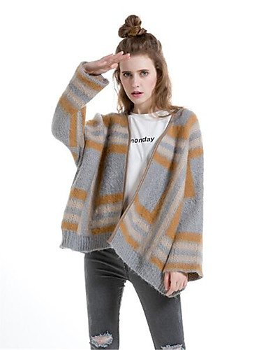 Xuanku Women's Casual/Daily Simple Short Cardigan,Solid Striped Print Round Neck Long Sleeves Wool Cotton Polyester Fall Winter Thick Camel