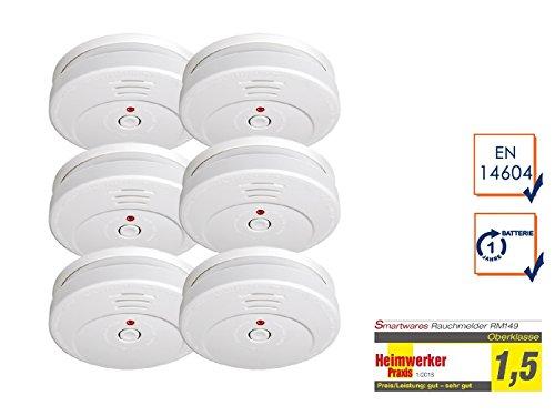 6-Set detector óptico blanco, 85 db de alerta, del botón de prueba, poca batería; Smartwares RM149: Amazon.es: Bricolaje y herramientas
