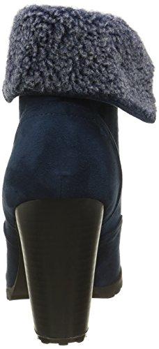 Angkorly - Scarpe da Moda Stivaletti - Scarponcini rangers donna pelliccia Tacco a blocco tacco alto 9 CM - soletta Foderato di Pelliccia - Blu