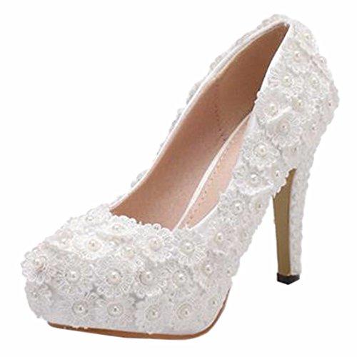 QIYUN.Z Frauen Brautpartei Schuh Reine Weiße Hohe Ferse Fauxperle Blume Hochzeit Schuhe