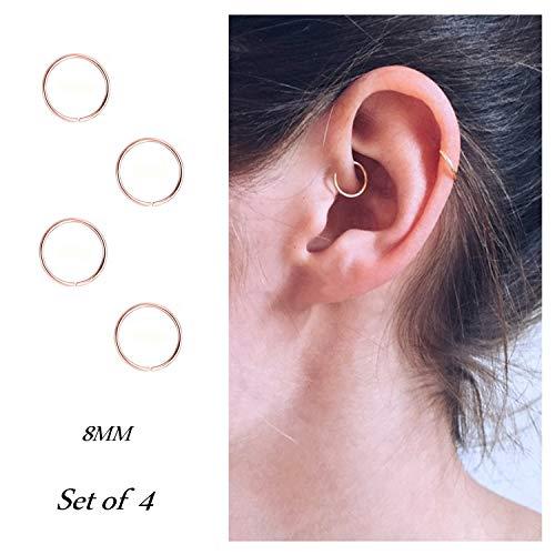 Hoop Cartilage Earring Fake Earrings Nose Rings Septum Nose Ring Stainless Steel for Women Men Girls Gold