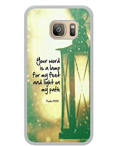 Psalm 119:105 your word is a lamp for my feet and light on my path christian bible verses quotes theme pattern print protector cover sleeve cases for Samsung Galaxy S7 – White Rubber Case Cover