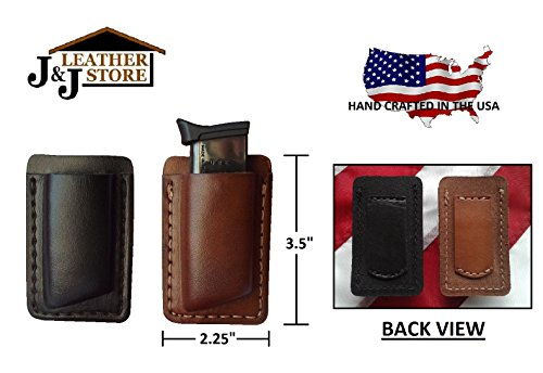 - J&J PREMIUM LEATHER 380 MAGAZINE POCKET HOLDER POUCH/BELT LOOP CARRIER HOLSTER (BLACK)
