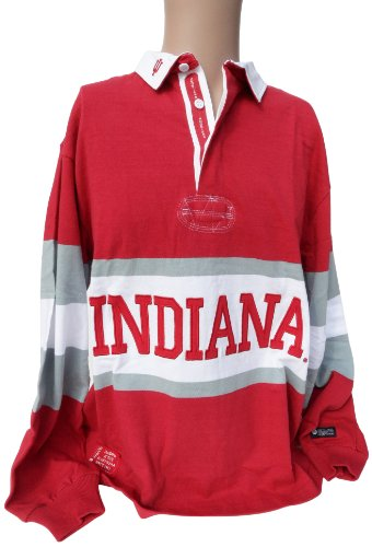 (NCAA Indiana Hoosiers Men's Panel Rugby Shirt, Crimson White, Small)